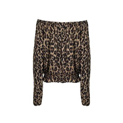 leopard pattern off shoulder t-shirt